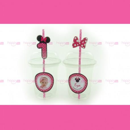 Gobelet et paille, Décoration Anniversaire Minnie rose