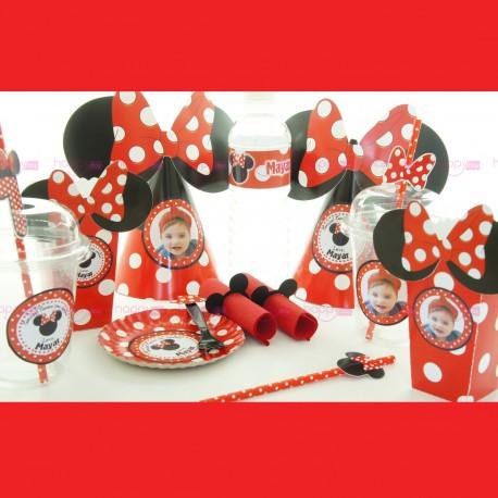 Décoration Anniversaire, Minnie Rouge Personnalisé (10 Personnes)