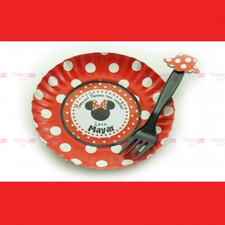 Assiette Et Fourchette, Décoration Anniversaire Minnie Rouge