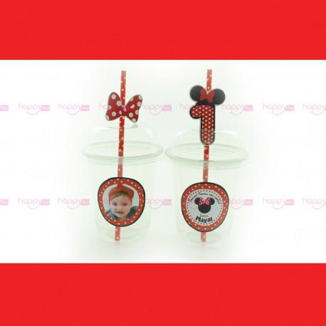 Gobelet Et Paille, Décoration Anniversaire Minnie Rouge