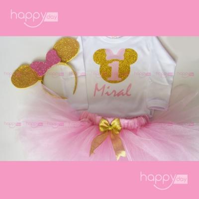 Tenue Minnie mouse rose et...